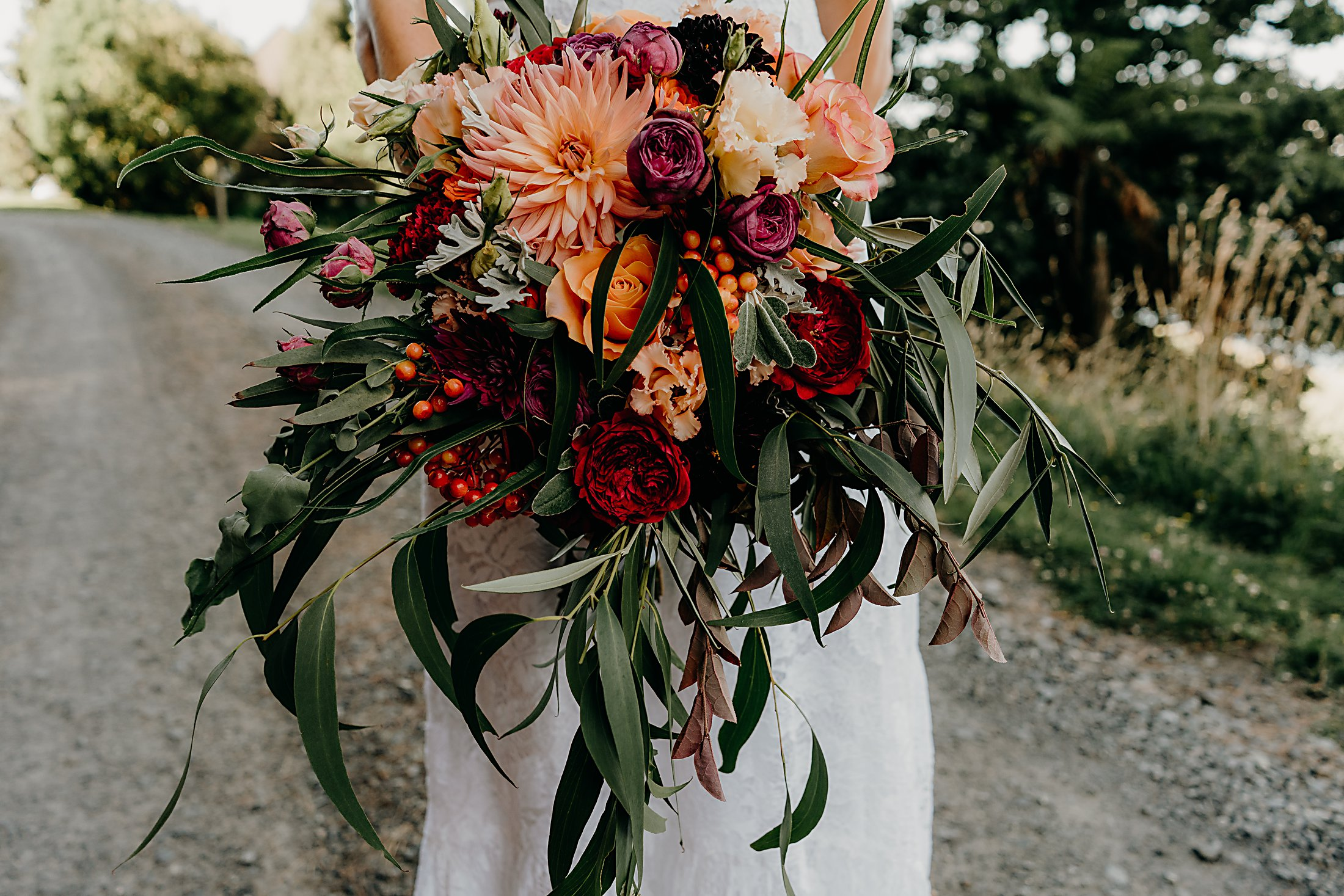 Purple peach red olive wedding bouquet