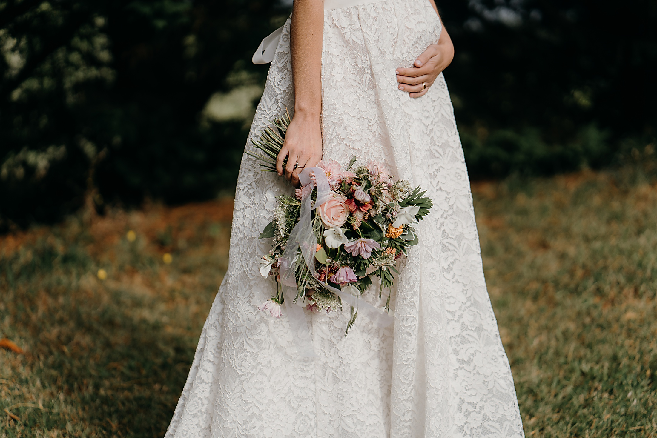 Daisy by Katie Yeung Wedding Dress, baby bump & bouquet