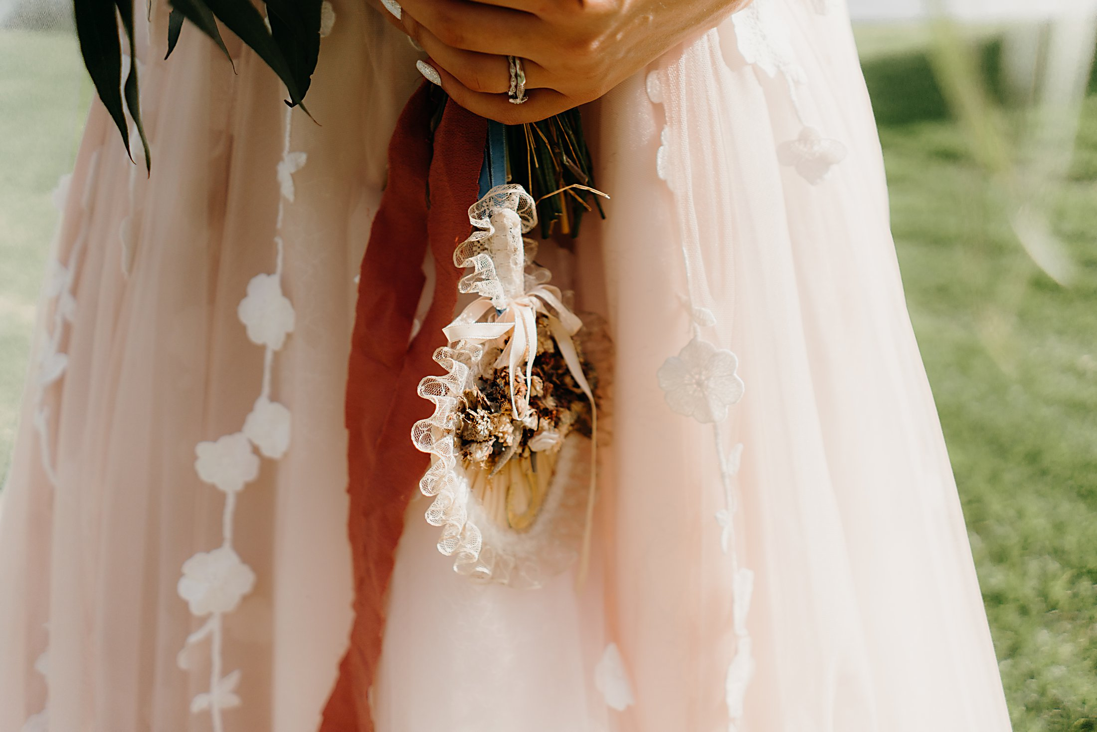 Gorgeous heirloom on wedding bouquet