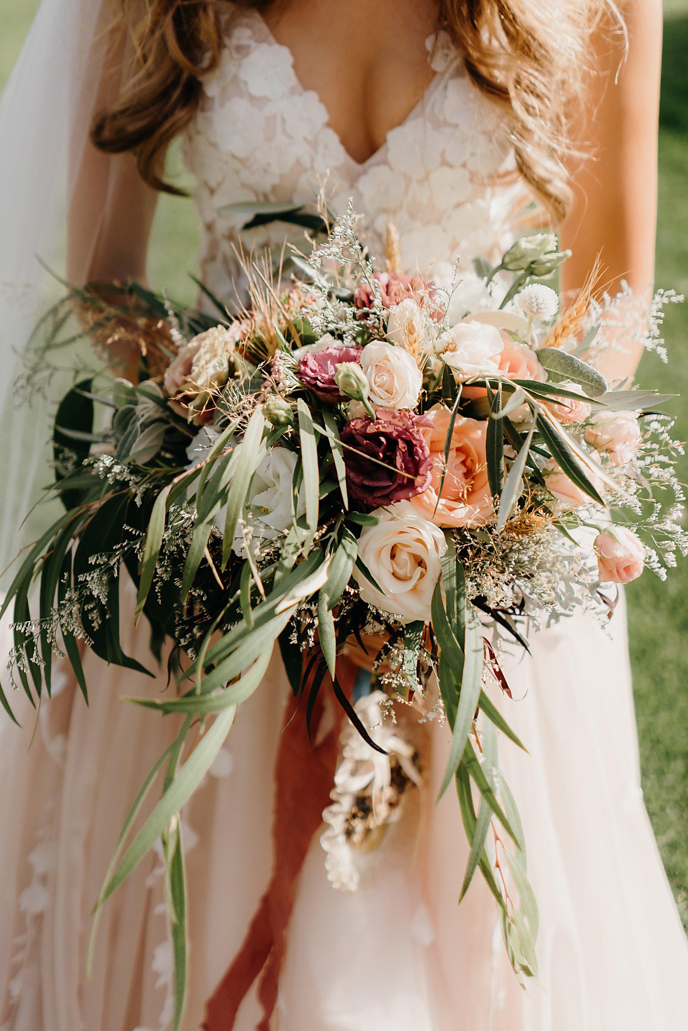 Romantic Blush, Apricot, Purple bouquet with Olive