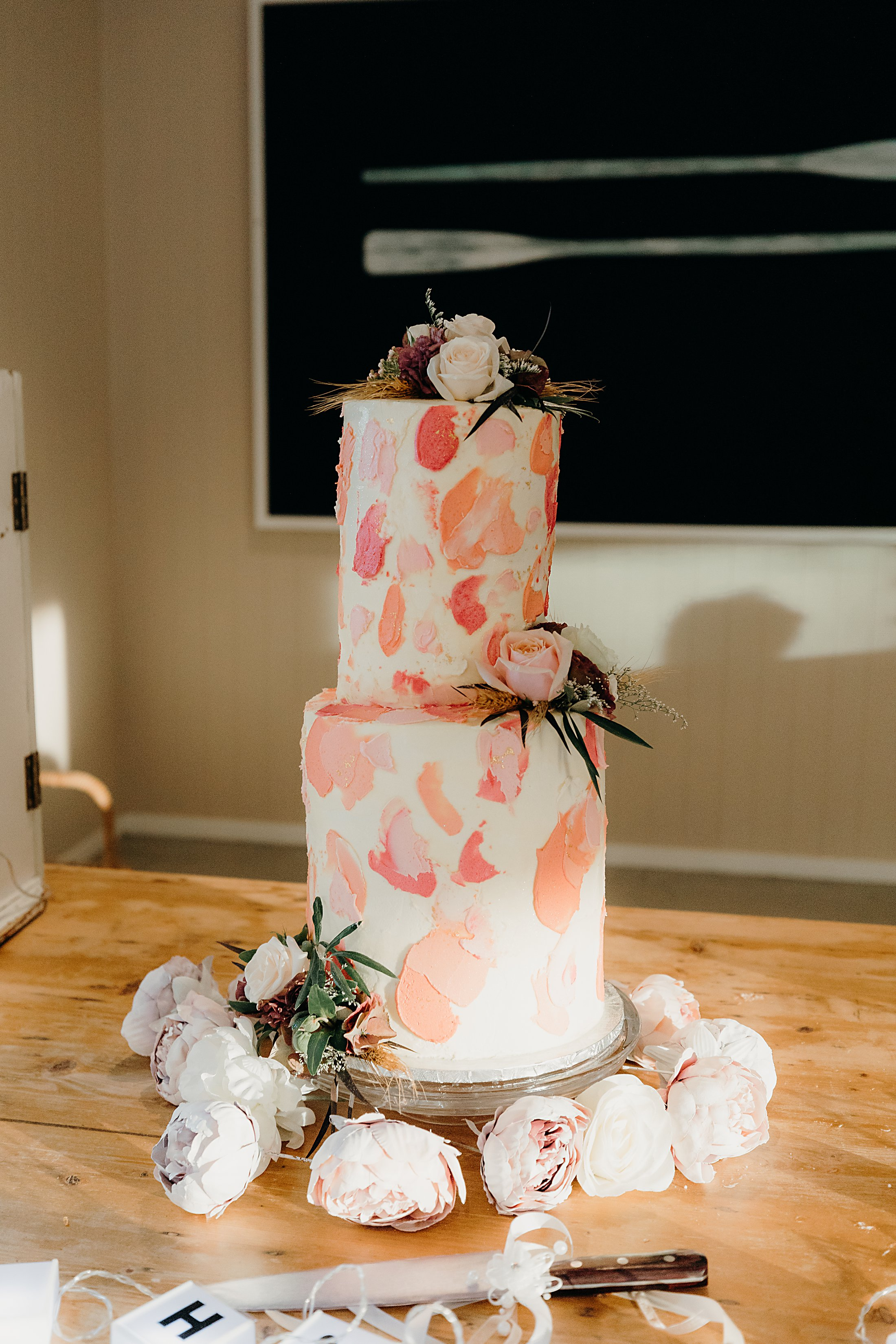 Blush two tiered wedding cake